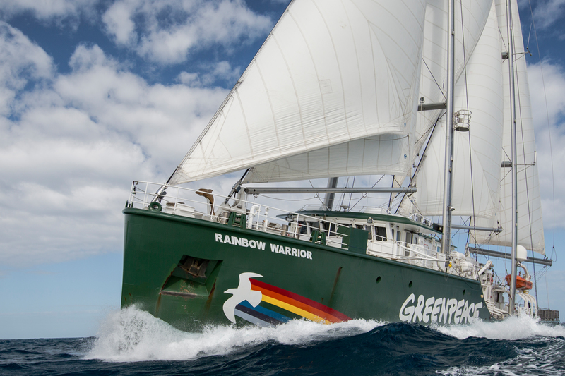 The Rainbow Warrior on the Great Barrier Reef.
